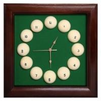 Часы Бильярд (коричневые, 44x44 см)
